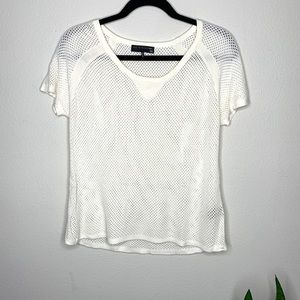 Rag & Bone Knot Cream Mesh Short Sleeve Sweater